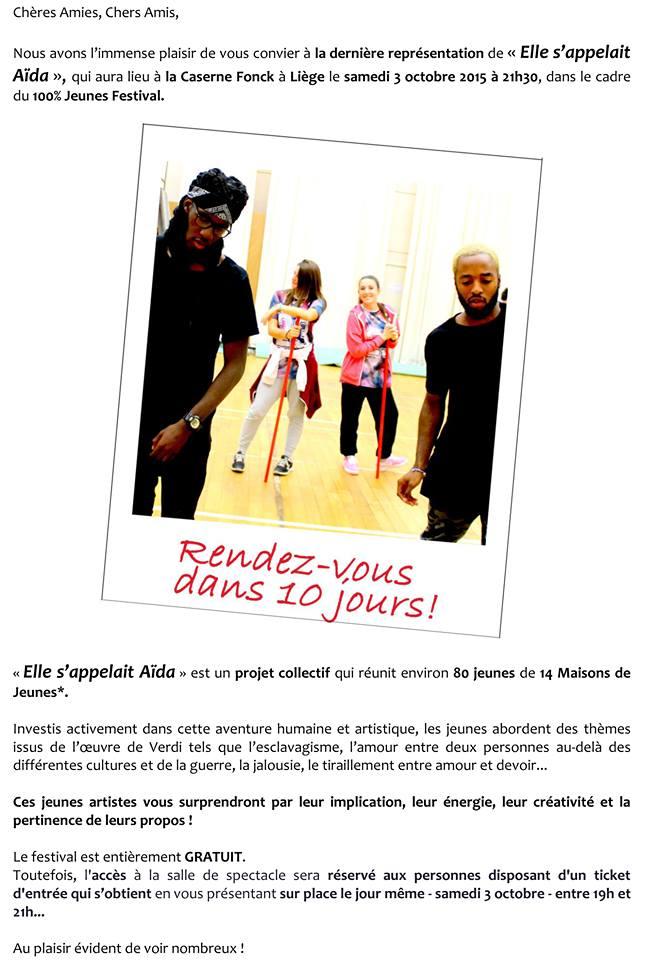 Affiche Aïda caserne fonck le 3 octobre