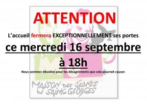 Fermeture Exceptionnelle septembre 2015