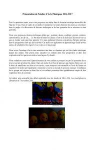 Presentation de l'atelier d'Arts Plastiques